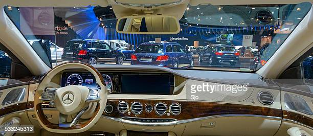 view on the mercedes stand from inside a s-class - mercedes benz s class stock photos and pictures