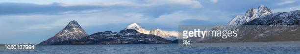 View on the Møklandsfjord on the Vesteralen island in Norway during winter.