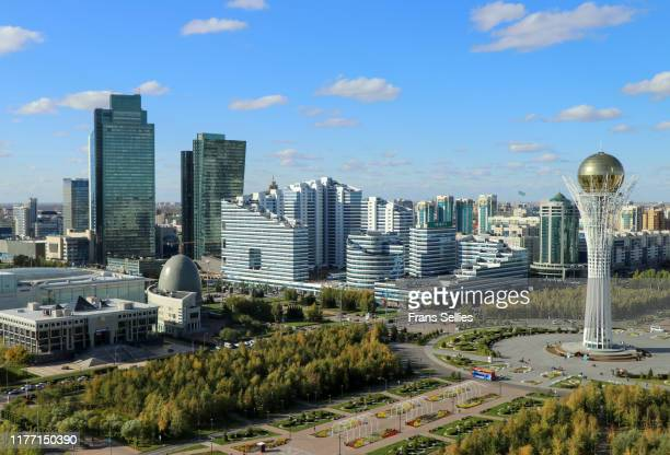 view on the modern centre of nur sultan (astana), kazakhstan - hauptstadt stock-fotos und bilder