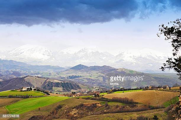 View on the Monti Sibillini and cultivated hills in