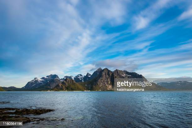 view on the mountains and fjord .flakstad - seascape stock pictures, royalty-free photos & images