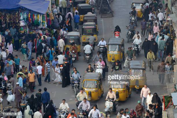 View on the old city of Hyderabad, the capital and largest city of the southern Indian state in Andhra Pradesh on March 24, 2017 in India.