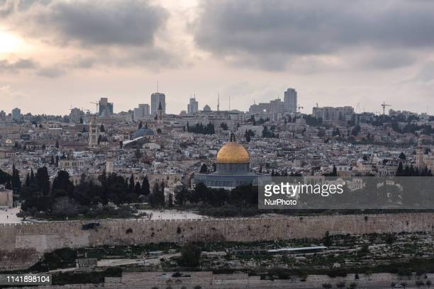 View on the Old City of Jerusalem with a golden dome of Al Aqsa mosque seen from the Mount of Olives, Jerusalem, Israel on April 5, 2019.