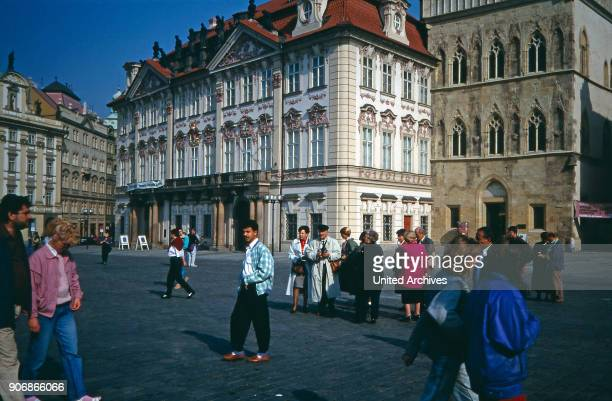 View on the Palace GoltzKinsky at the Old Town Square Prague Czechia 1980s
