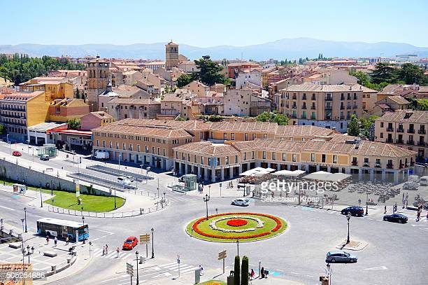 view on the plaza de la artilleria, segovia, spain - segovia stock pictures, royalty-free photos & images