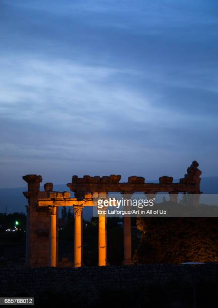 View on the ruins from the Palmyra hotel Beqaa Governorate Baalbek Lebanon on May 1 2017 in Baalbek Lebanon