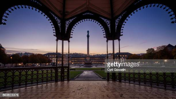 view on the schloßplatz stuttgart from the pavilion - stuttgart stock pictures, royalty-free photos & images