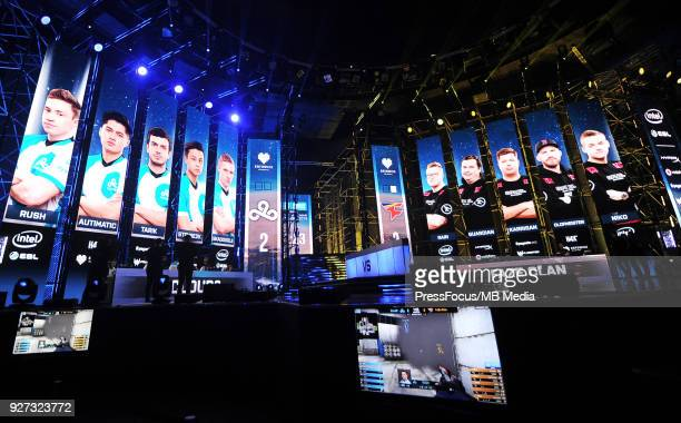 View on the stage during CounterStrike Global Offensive quarterfinal game between Cloud9 and FaZe Clan on March 2 2018 in Katowice Poland