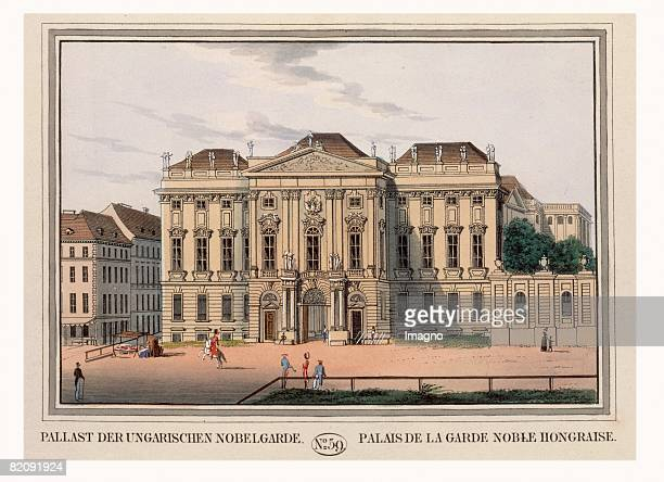 View on the Trautson Palac Coloured Etching Around 1825 [Pallast der ungarischen Nobelgarde [Palais Trautson] Kolorierter Kupferstich Blatt No 59 aus...