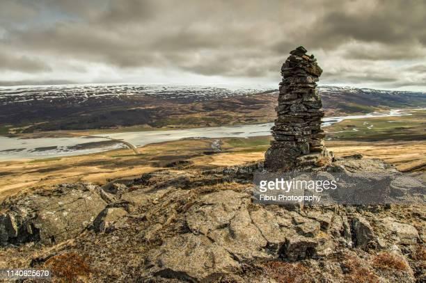 view on the valley from the top of hengilfoss - austurland stock-fotos und bilder