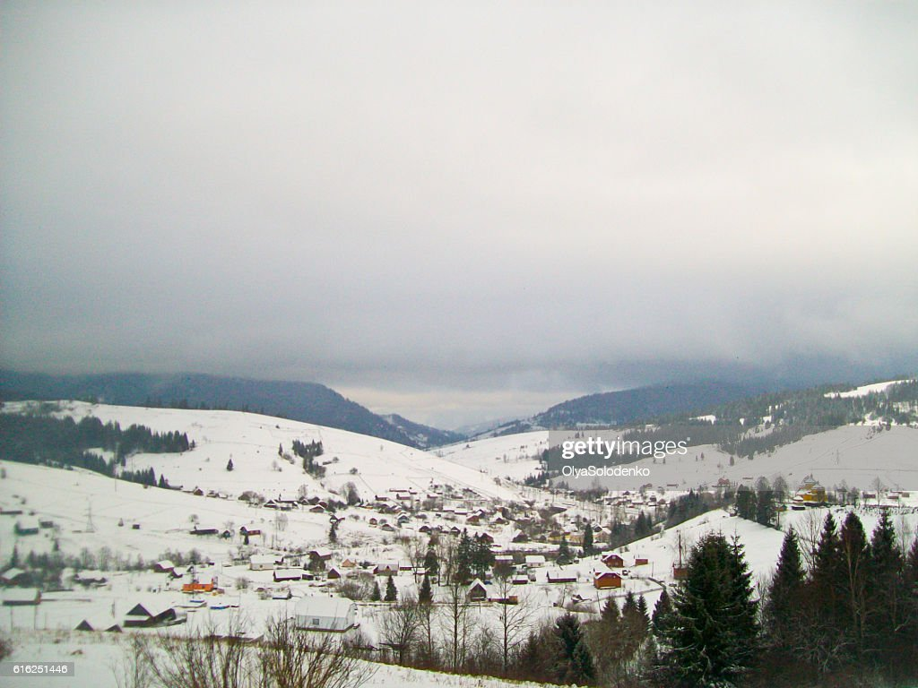 View on the village in winter Carpathians, Ukraine : Foto de stock