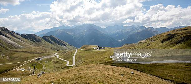 A view on the winding road of the Grossglockner high alpine road on September 09 near Zell am See Austria The Grossglockner high alpine road is the...