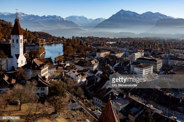 view on thun 2 - bern stock photos and pictures