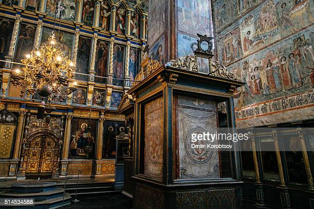 View on Tsars gate and iconostasis by Grigory Ustinov in Annunciation Cathedral in Solvychegodsk