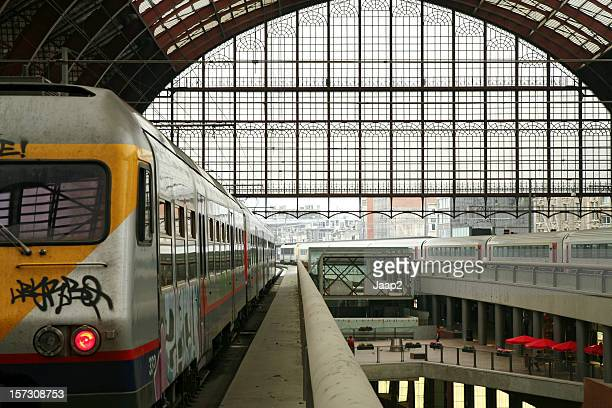 View on upper level of central train station Antwerp, Belgium.