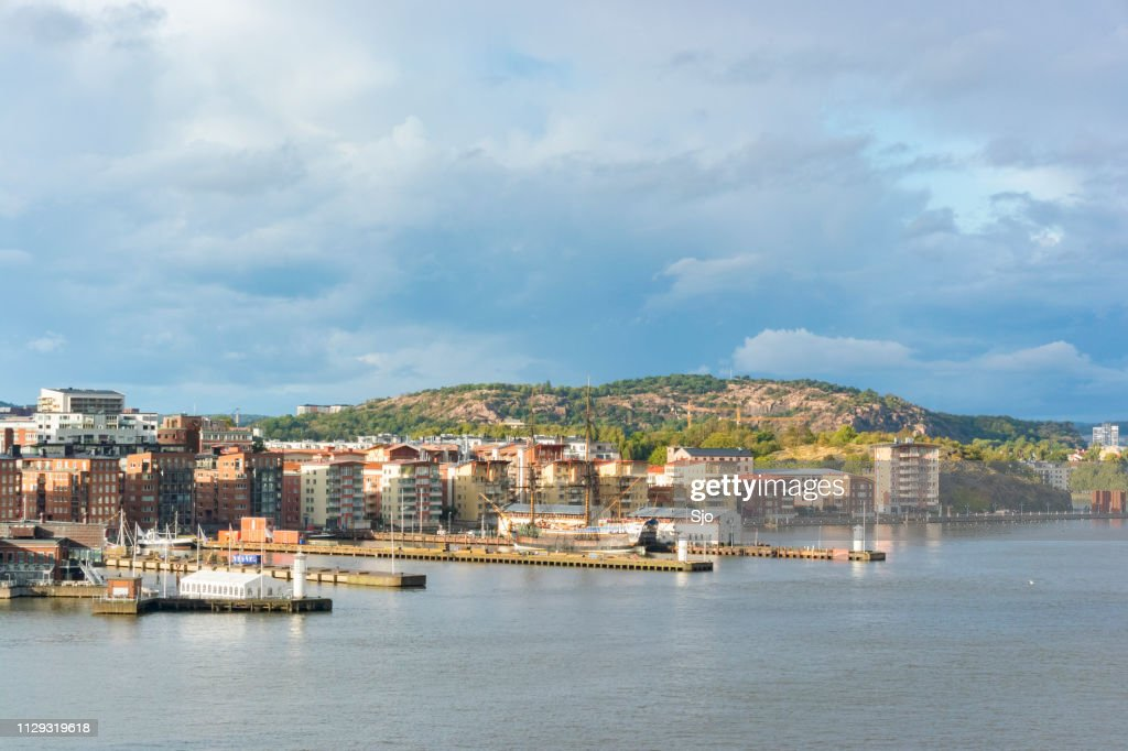 View on Västra Eriksberg in the port of Gothenburg in Sweden on a stormy day. : Stock Photo