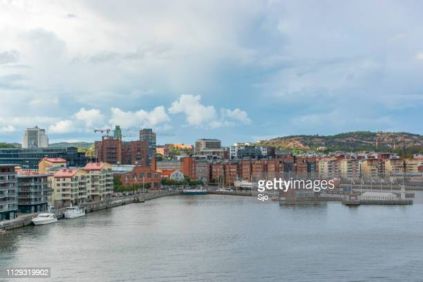 view on västra eriksberg in the port of gothenburg in sweden on a stormy day. - dalsland stock photos and pictures