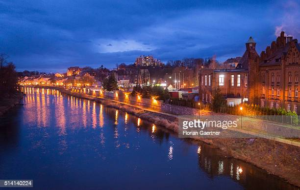 View on Zgorzelec and the border river Neisse during blue hour near the germanpolish border on February 08 2016 in Zgorzelec Poland