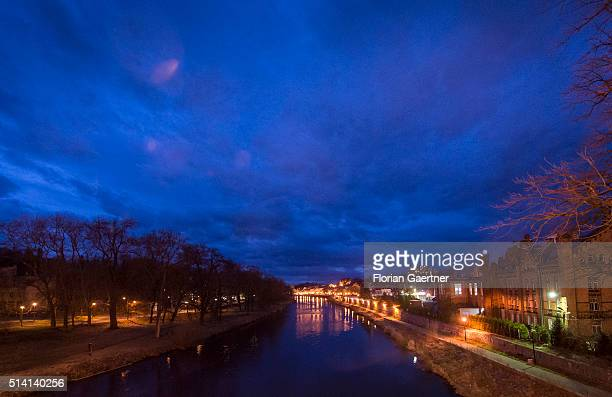 View on Zgorzelec Goerlitz and the border river Neisse during blue hour near the germanpolish border on February 08 2016 in Zgorzelec Poland