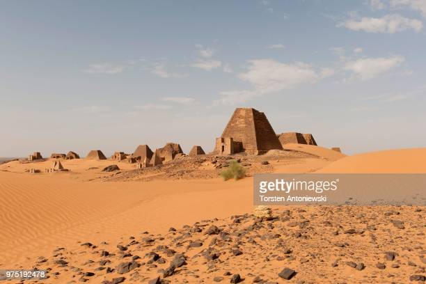 View onto the black Pyramids of Meroe, Nubian Desert, Nubia, Nahr an-Nil, Sudan