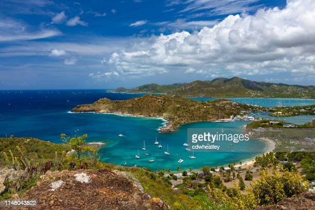 view or english harbour, antigua, from shirley heights - antigua & barbuda stock pictures, royalty-free photos & images