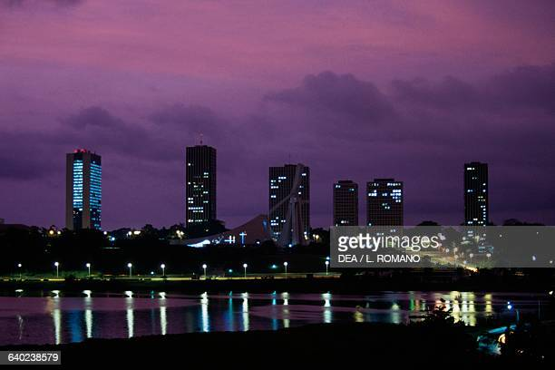 View or the Cite' Administrative at night Abidjan Ivory Coast