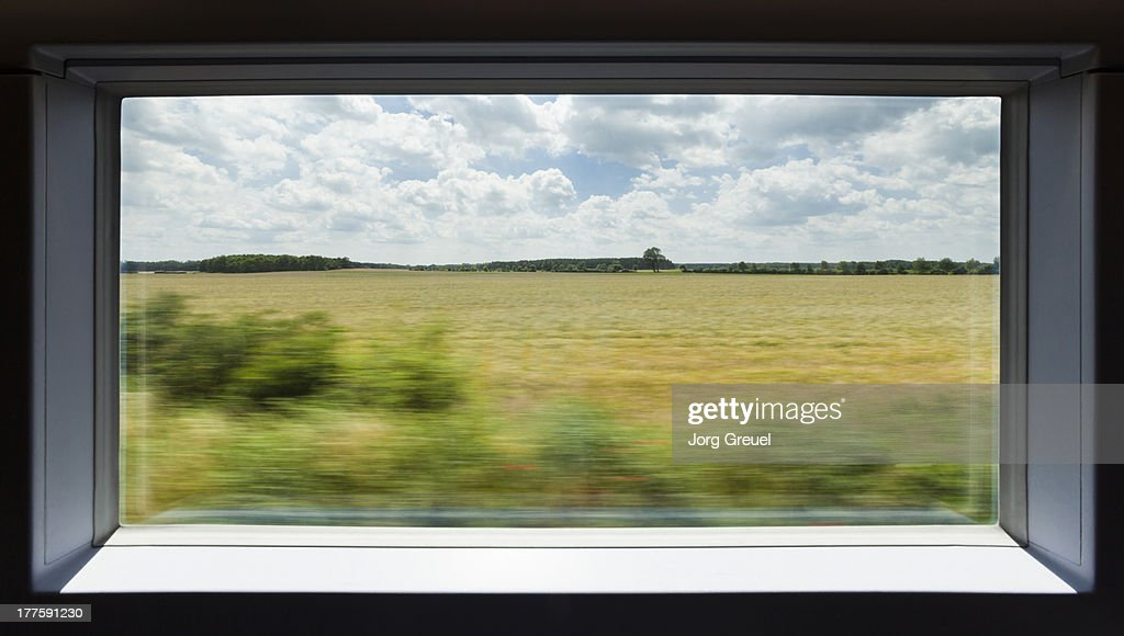 View out of a high speed train : Stock-Foto