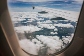 View out of airplane window.