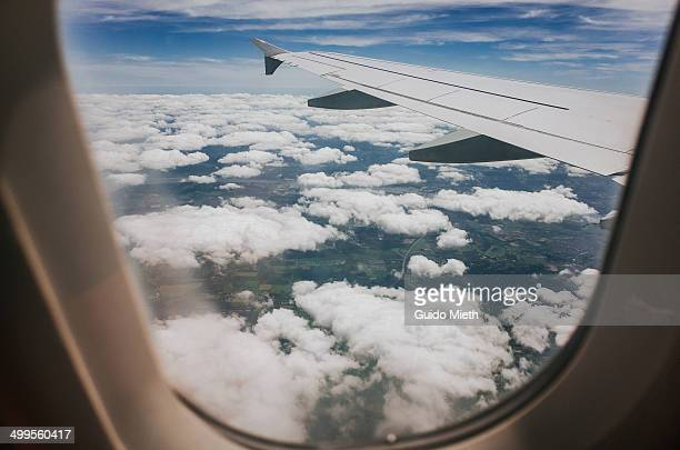 view out of airplane window. - window stock pictures, royalty-free photos & images