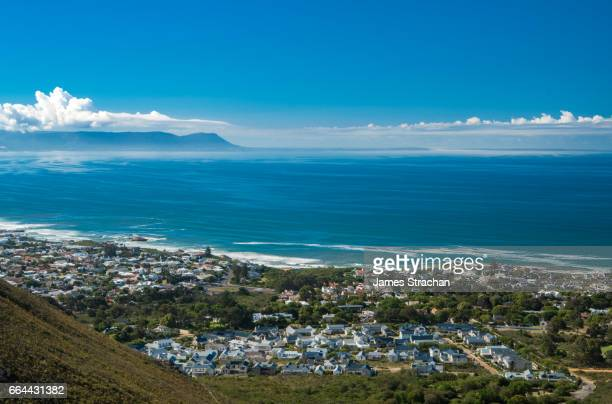 View out to sea across the town, Hermanus, South Africa
