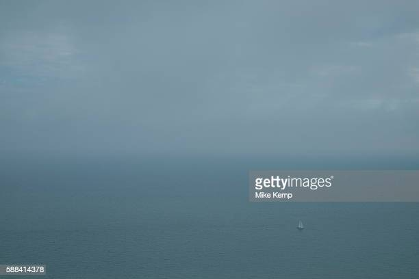 View out to sea and the English Channel from Beachy Head clifftop just outside Eastbourne England United Kingdom Beachy Head is a chalk headland in...