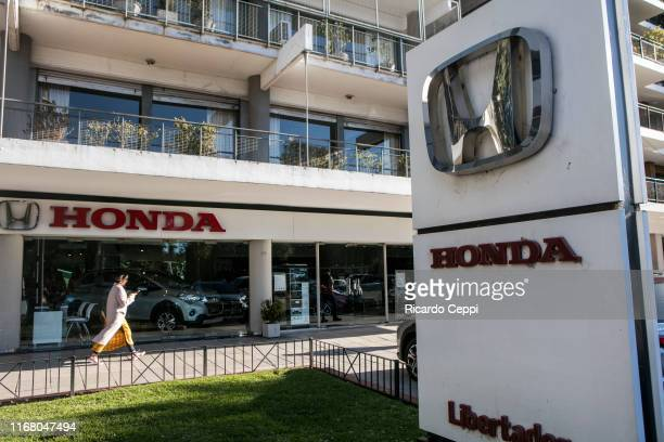 View outside a Honda car automobile dealership after the Japanese company announced the cease in the production of cars in Argentina on August 14 in...