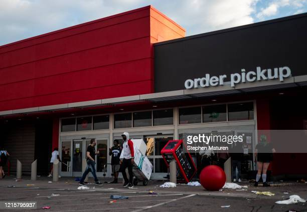 View outside a Target store on May 27, 2020 in Minneapolis, Minnesota. Businesses near the 3rd Police Precinct were looted and damaged today as the...