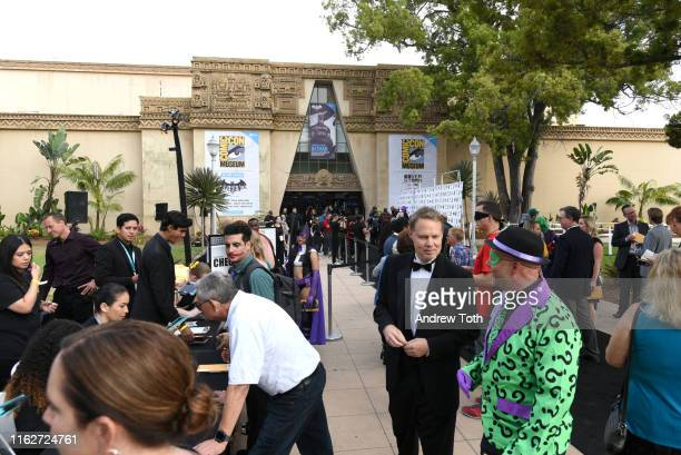 """View outside at """"The Gathering"""" ahead of the induction ceremony during The Batman Experience powered by AT&T and Comic-Con Museum character Hall Of..."""