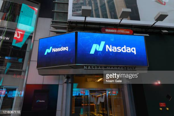 A view outside Nasdaq in Times Square during the Coronavirus pandemic on March 31 2020 in New York City President Trump has extended the social...