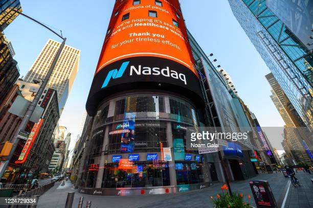 A view outside Nasdaq in Times Square during the coronavirus pandemic on May 13 2020 in New York City COVID19 has spread to most countries around the...