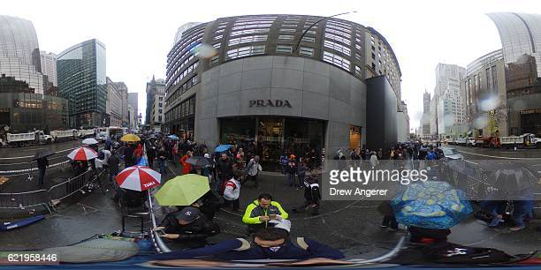 A view outside of 5th Avenue and Trump Tower following Donald Trump's victory in the US presidential election November 9 2016 in New York City...