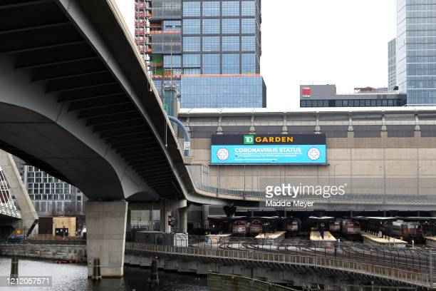 A view outside of TD Garden the venue that hosts the Boston Bruins and Boston Celtics on March 12 2020 in Boston Massachusetts It has been announced...