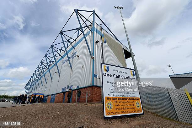 View outside of the One Call Stadium, home of Mansfield Town FC before the Sky Bet League Two match between Mansfield Town and Torquay United at One...