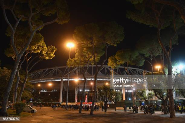 A view outside of the stadium before the UEFA Champions League group C match between AS Roma and Chelsea FC at Stadio Olimpico on October 31 2017 in...