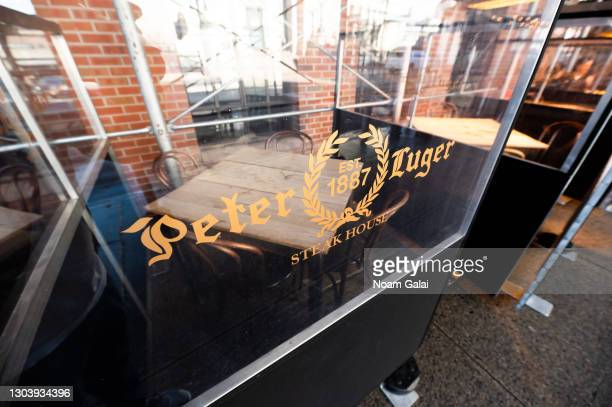 View outside Peter Luger Steak House on February 24, 2021 in New York City. Indoor dining capacity at restaurants in New York City will increase to...
