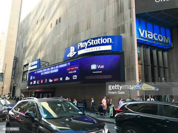A view outside PlayStation Theater during the Camp BroaderWay Karaoke Benefit Concert on May 21 2018 in New York City