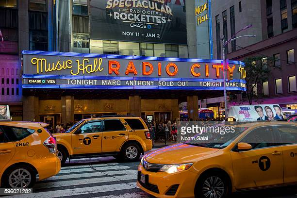 View outside Radio City Music Hall on August 26, 2016 in New York City.