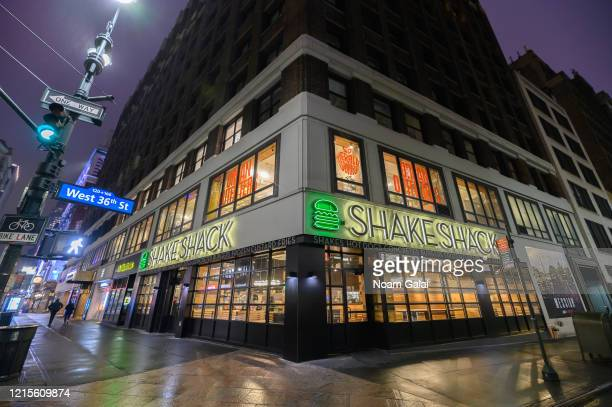 View outside Shake Shack in Herald Square as people remain at home to stop the spread of coronavirus on March 29, 2020 in New York City. President...