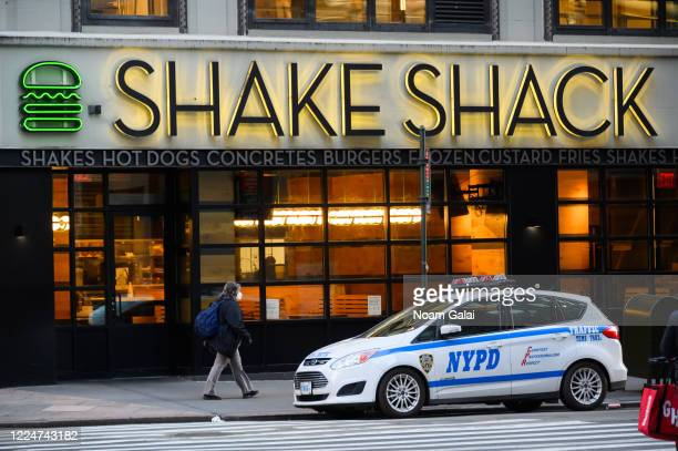 View outside Shake Shack in Herald Square during the coronavirus pandemic on May 13, 2020 in New York City. COVID-19 has spread to most countries...