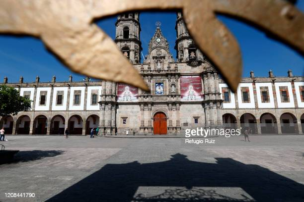 View outside the Basilica of Our Lady of Zapopan that has suspended its services as part of the measures taken to avoid de spread of coronavirus...