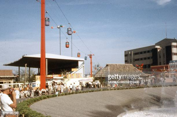 View outside the International Fountain at the Century 21 Exposition Seattle World's Fair in Seattle Washington July 1962 At center frame is the...