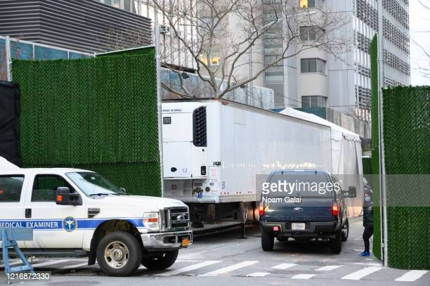 View outside the makeshift morgue outside of Bellevue Hospital during the Coronavirus pandemic on April 4, 2020 in New York City. The coronavirus...