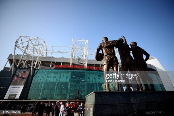 A view outside the stadium ahead of the Premier League match between Manchester United and Liverpool FC at Old Trafford on February 24 2019 in...