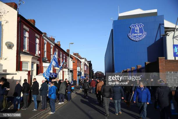 A view outside the stadium as fans arrive ahead of the Premier League match between Everton FC and Leicester City at Goodison Park on January 1 2019...